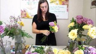 How to Make a Wedding Bouquet - DIY Wedding Flowers(Using fresh roses (rose cool water lavender and rose skyline yellow), green hypericum, purple wax flower, purple limonium, and leather leaf fern we have ..., 2011-10-18T16:07:37.000Z)