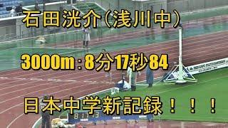 石田洸介(浅川中)男子3000m日本中学新記録樹立!!(ジュニアオリンピック陸上2017・男子A3000m決勝)