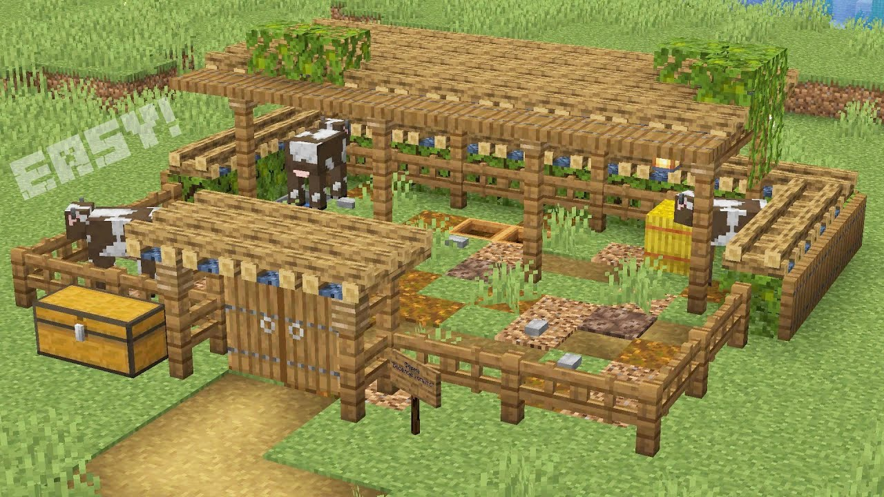Simple Animal Farm In Minecraft Youtube