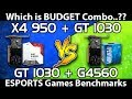 Athlon X4 950 vs Pentium G4560 || GT 1030 || Low Budget Gaming PC Benchmarks