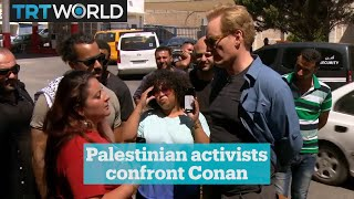 Conan O'Brien confronted by Palestinian activists