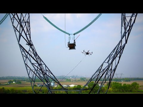 Drone Stringing Transmission Lines