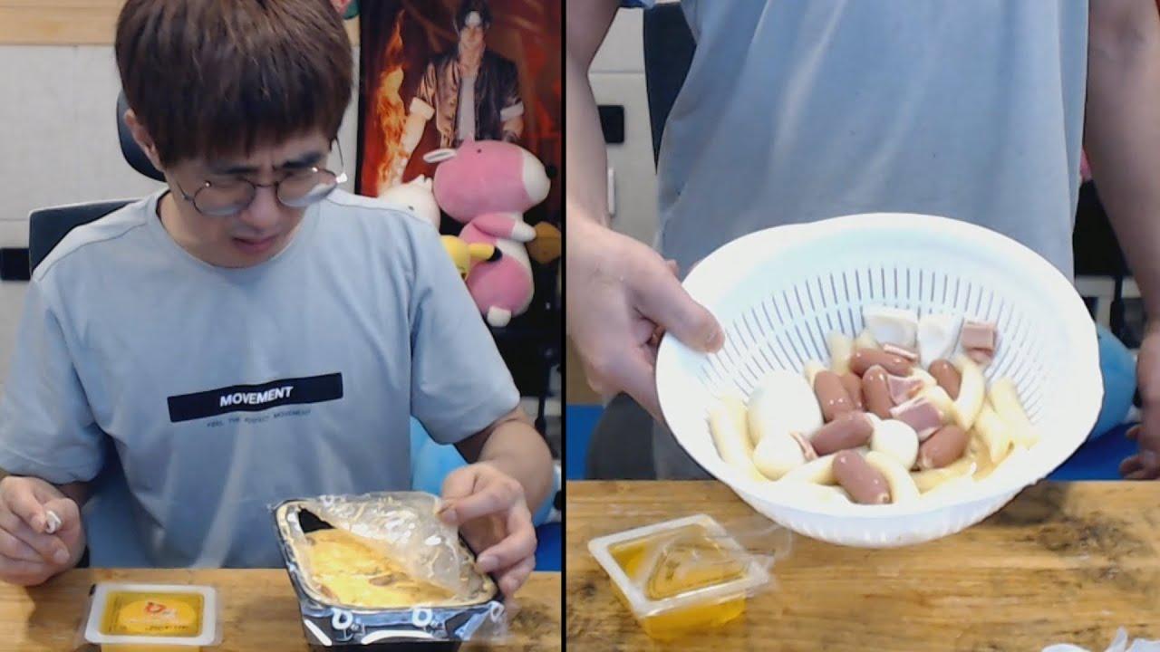 [케인] 로제떡볶이 씻어서 다시 만들어 먹기 210530