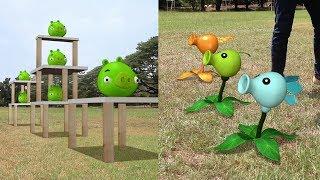 Plants vs Pigs Angry Birds Real Life !!
