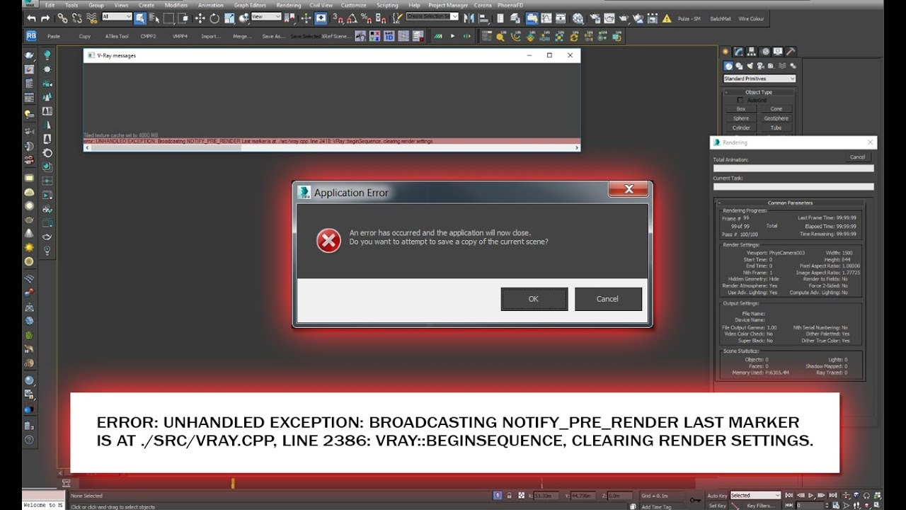 How to fix error: UNHANDLED EXCEPTION on render Vray