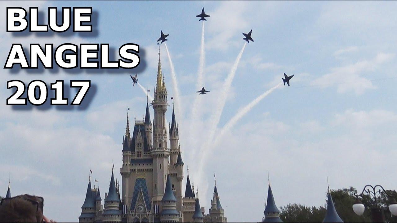 u.s. navy blue angels fly over magic kingdom cinderella castle