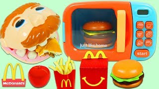 Feeding Mr. Play Doh Head McDonalds Happy Meal Using Toy Microwave!