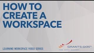 Learning-Workspace - Erstellung einer Grants.gov Arbeitsbereich