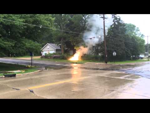 Power line arcing on ground.