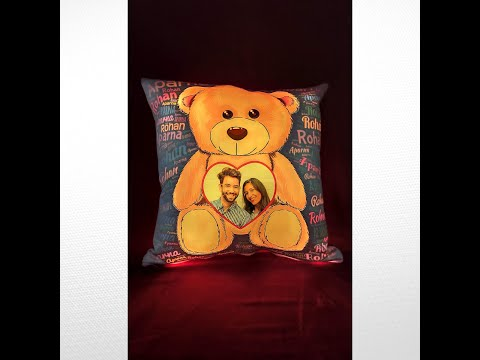 LED PILLOW WITH BOTH SIDE PRINT 15X15INCH   PERSONALIZED PHOTO GIFTS THE WEDDING FOREVER SHOP