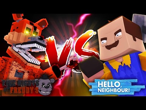 Minecraft HELLO NEIGHBOR VS FNAF - THE NEIGHBOUR HAS FOXY'S EYE PATCH - Donut The Dog Minecraft