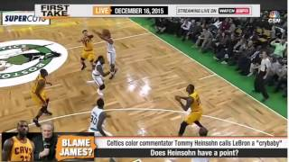 ESPN First Take   Cavaliers def Celtics  Tom Heinsohn calls James a  CryBaby
