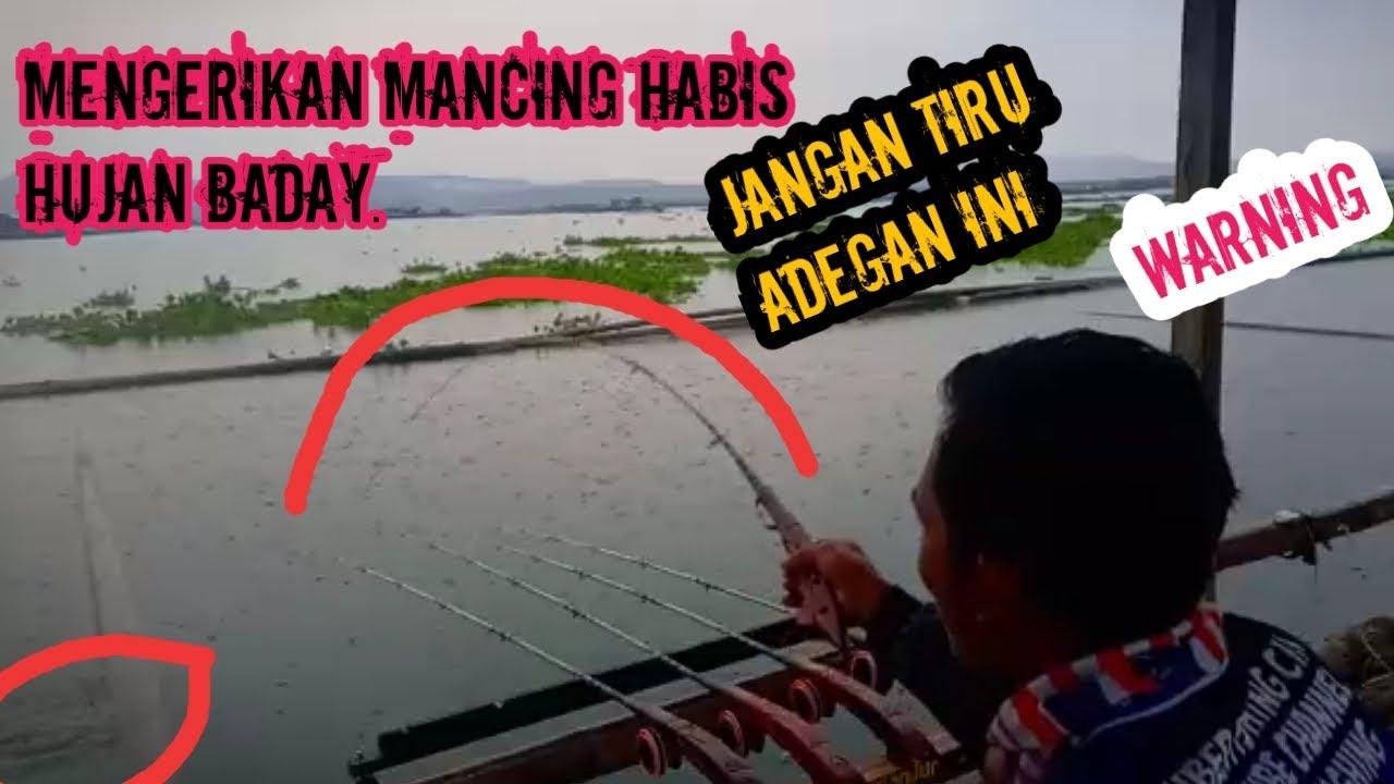 mancing sore jangari cirata di guyur hujan - YouTube
