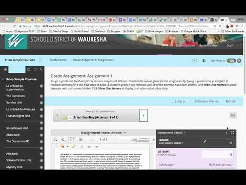 Viewing SafeAssign Originality Reports in Blackboard