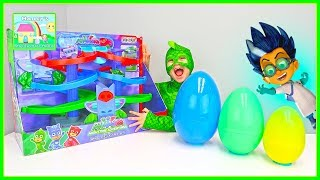 PJ Masks Toys Opening with Surprise Eggs! Romeo Takes the Egg Surprises!