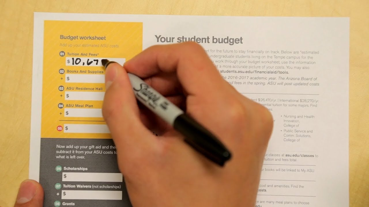 How To Fill Out Your Asu Financial Aid Budgeting Worksheet Youtube
