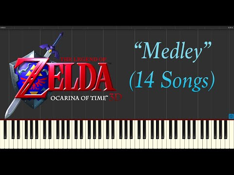 The Legend of Zelda: Ocarina of Time - Medley [14 Songs] (Piano Tutorial Synthesia)