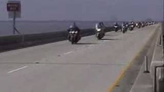 Buffalo Soldiers Motorcycle Club Crossing the Lake Ponchartrain Bridge from New Orleans
