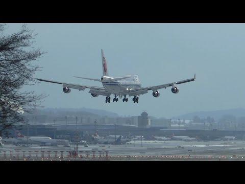 Air China Boeing 747-400 landing at Zurich Airport - President Xi Jinping state visit