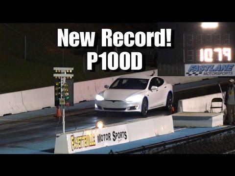 Tesla Model S P100D Breaks 1/4 Mile Record Drag Racing!