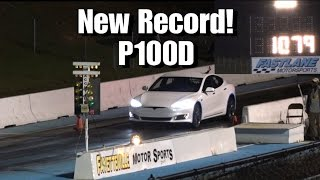 Tesla Model S P100D Breaks 1/4 Mile Record Drag Racing!