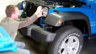 2012 Jeep Wrangler: Episode 1 Vlog: Grill Removal and IPF Headlight Upgrade(This video shows how to install IPF headlights into your JK Jeep. Get your LastHumansGarage T-shirts here: http://skreened.com/lasthumansgarage/ ..., 2012-04-07T02:49:38.000Z)