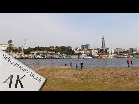 Hamburg, Germany: Hafen (Harbor), Elbe, St. Pauli + City Skyline - 4K UHD Video
