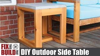 DIY Outdoor Side Table with Concrete Top (2x4 Challenge) How to Build