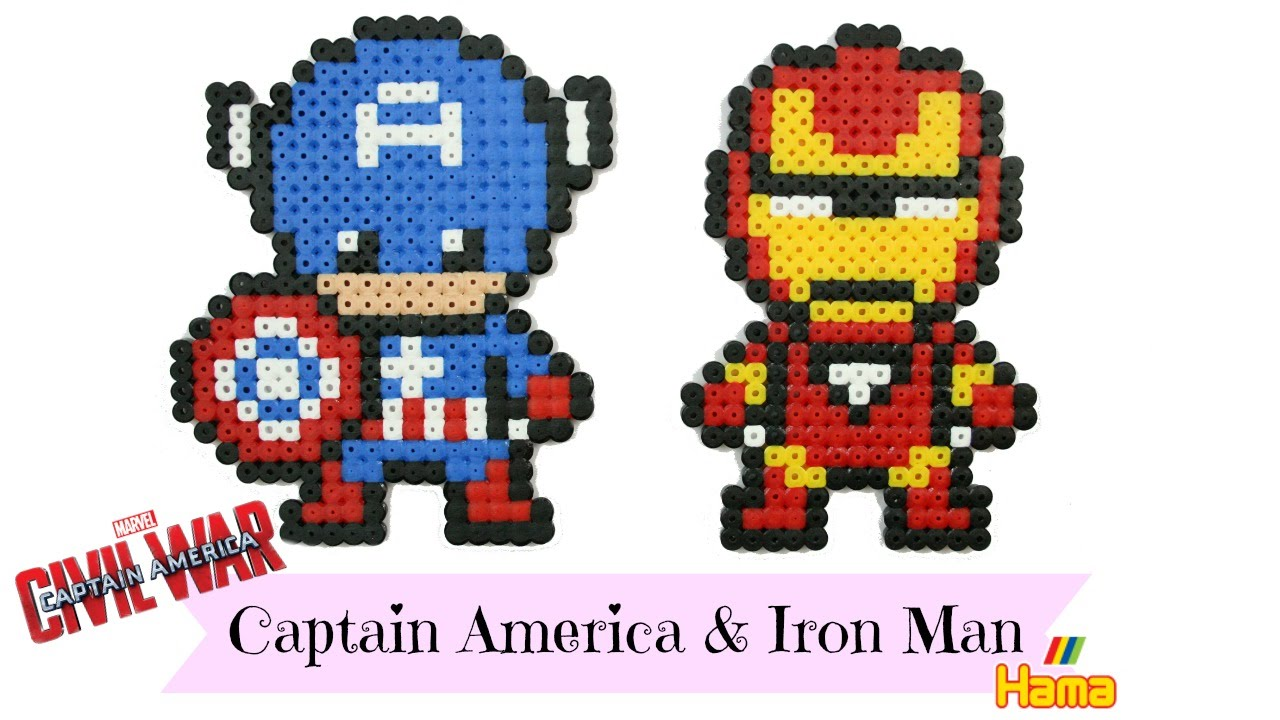 captain america et iron man en perles repasser hama civil war marygoround youtube. Black Bedroom Furniture Sets. Home Design Ideas