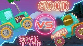Good vs Evil | tractor battles |  cartoon cars and trucks for children