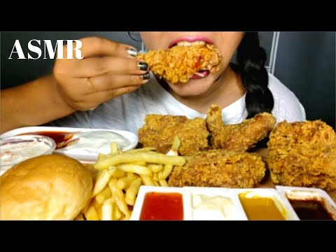 FRIED CHICKEN AND FRIES ASMR 먹방 *NO  TALKING* CRUNCHY EATING SOUNDS