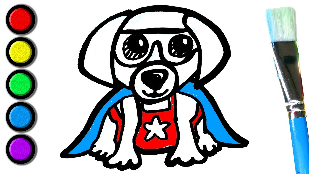 Painting Super Puppy Colouring and Painting Pages | Kids to learn to ...