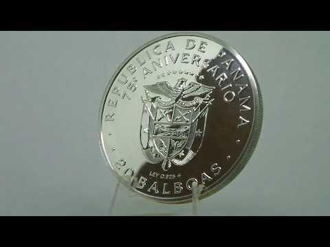 Moneda de Plata de 20 Balboas Vasco Núñez de Balboa