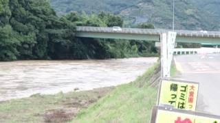 2014年の台風11号が接近する前の和歌山県有田川町の新金屋橋より50メー...