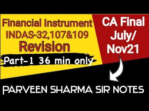 Financial Instrument || FR Ind As 32,109 & 107 revision || [Parveen Sharma Sir notes](Part-1)
