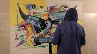 PAINTING A LARGE CANVAS TIME LAPSE SPEED ART BY RAEART PARADISE
