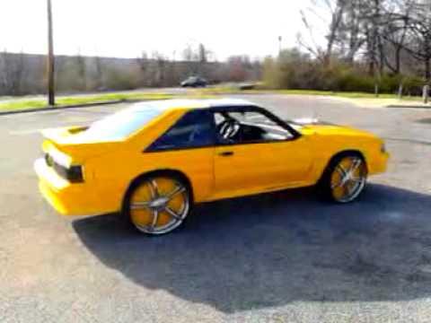 Yellow 5.0 mustang on davins - YouTube