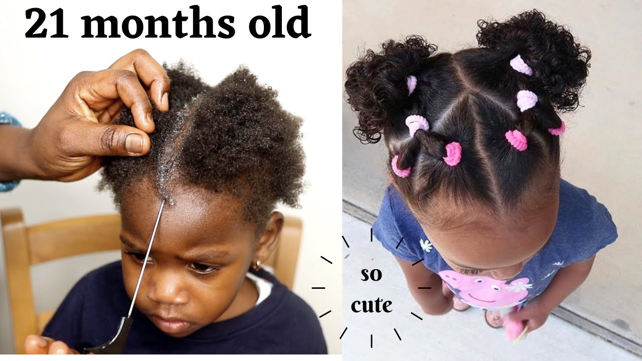 9 mins Hair Style on a Toddler/ Little black Girls/Simple and Cute KIDS  Hairstyle on Short Hair