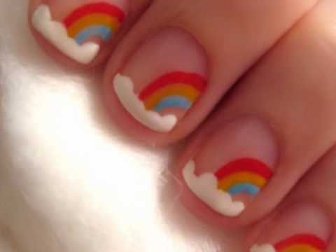 Nail art for short nails rainbow design youtube nail art for short nails rainbow design prinsesfo Images