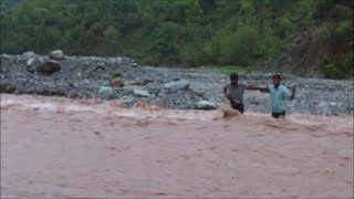 Reasi villagers risk lives to cross river as bridge awaits completion for 10 yrs