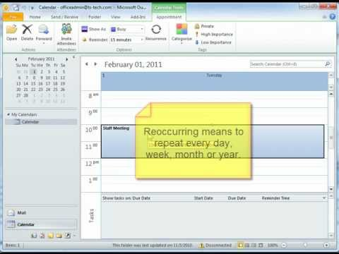 How to use the Outlook Calendar & Appointments