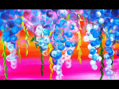 Abstract dripping wisteria flowers step by step acrylic for Step by step acrylic painting flowers for beginners