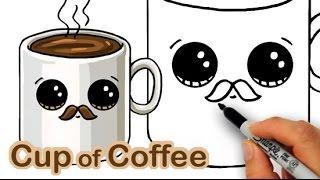 Cómo Dibujar una Caricatura Taza de Café Lindo y Fácil con Bigote