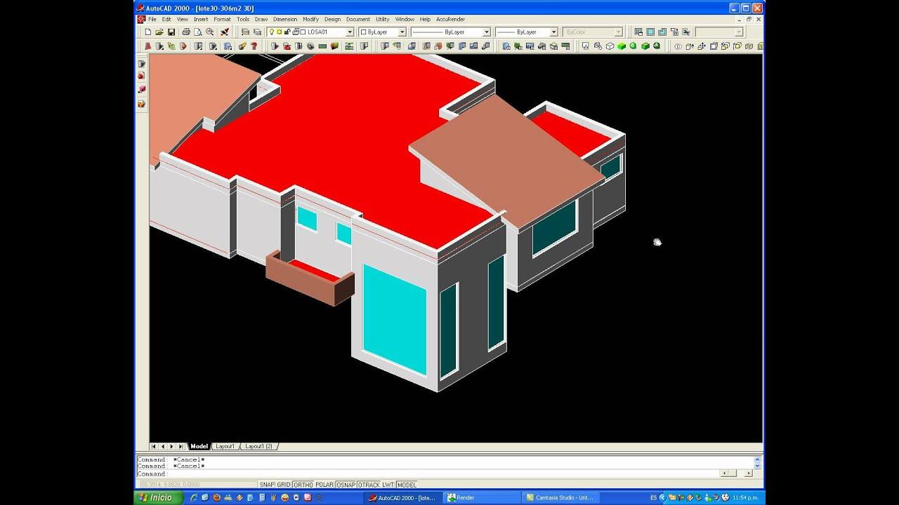 Tutorial autocad proyecto completo de una casa en 3d 2de2 for Simulador de casas 3d gratis