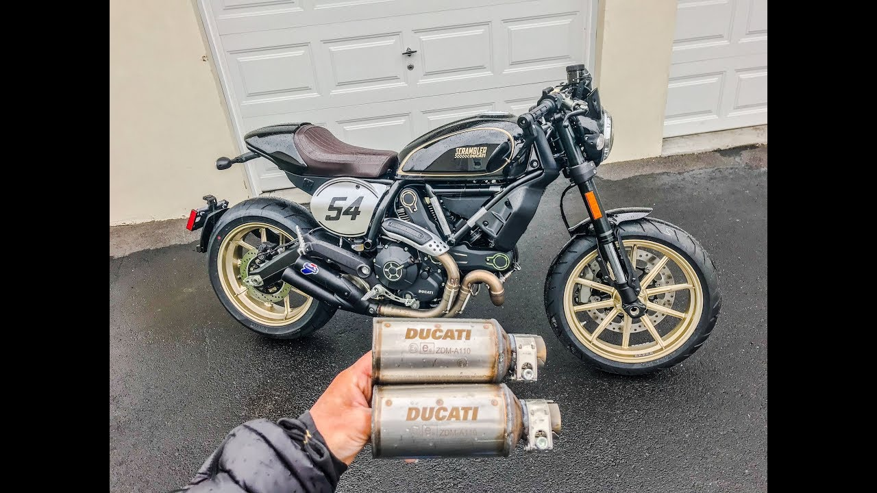 ducati scrambler cafe racer baffle and muffler removal. Black Bedroom Furniture Sets. Home Design Ideas