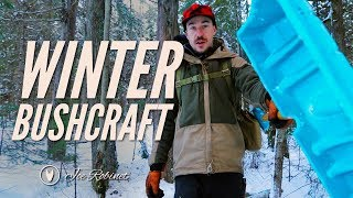 Solo Winter Bushcraft - 1 MATCH TWIG BUNDLE FIRE, DEEP SNOW, BACON BURRITO, NEW SHELTER SPOT!