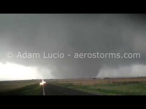 Huge tornado near Elmer Oklahoma. Huge Hail destroys vehicle. May 16th 2015