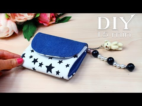 DIY MINI POUCH AWESOME DESIGN // Handmade Purse Wallet Jeans Recycle thumbnail