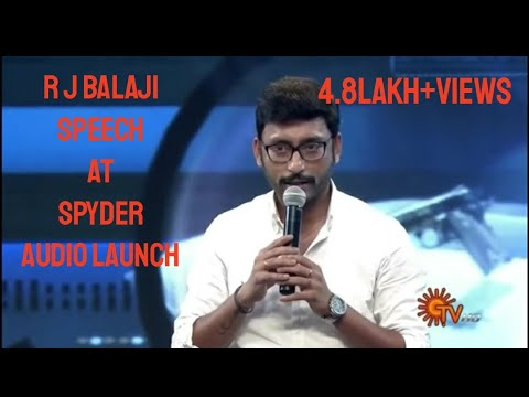 R J Balaji Speech at SPYder Tamil audio Launch - |MAHESHBABU| |ARMURUGADOSS|