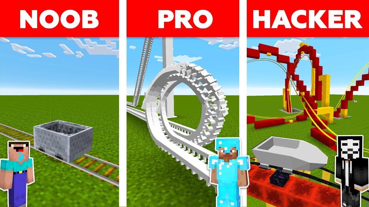 Minecraft NOOB vs PRO vs HACKER : ROLLER COASTER CHALLENGE in minecraft / Animation